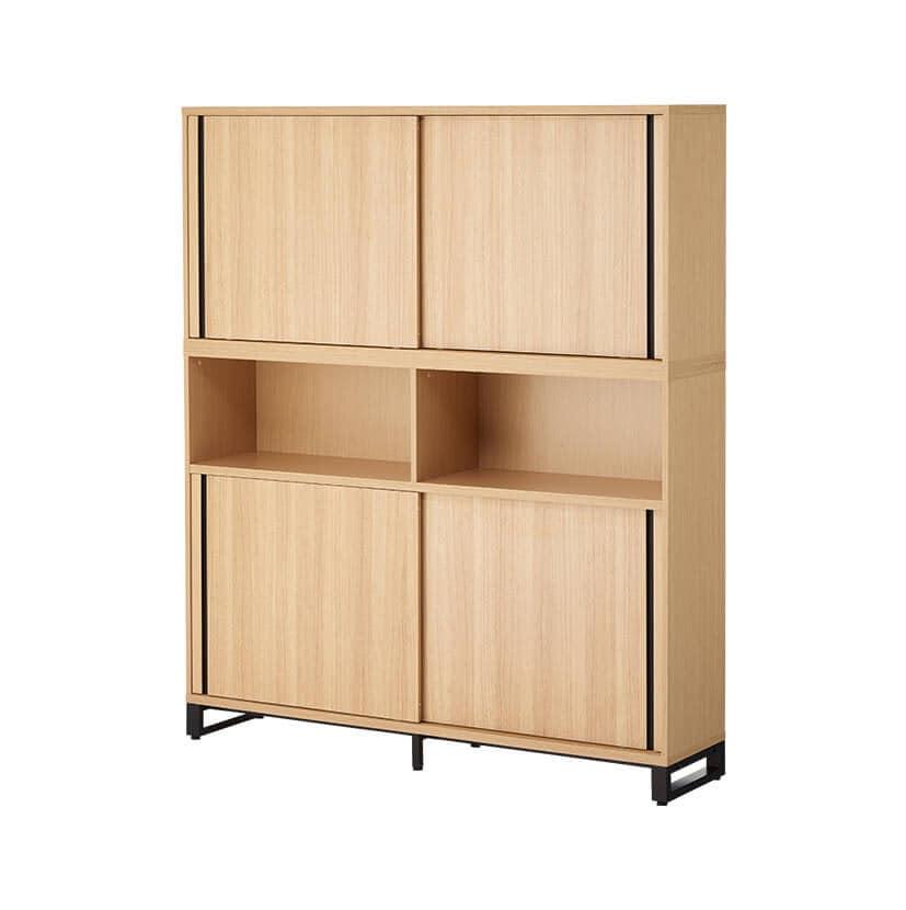 メティオ 木製キャビネット 書庫 5段 上下組 上置き用2段スライドドア+下置き用3段(オープン+2段スライドドア) 幅1600×奥行398mm