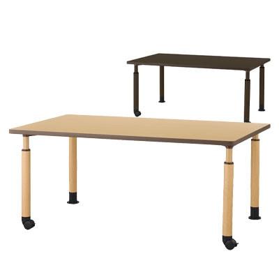 DWTテーブル 介護施設 食堂テーブル スチール製昇降脚/片側キャスター仕様 高さ調節 幅1600×奥行900×高さ600-800mm