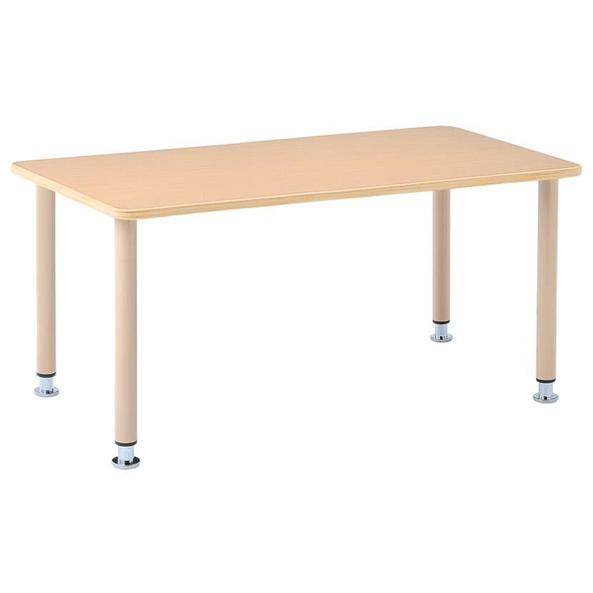 イメディア 日本製 介護施設向けテーブル ラチェット式アジャスト脚 TBH-1609-SBE 天板表裏メラミン樹脂仕上げ 幅1600×奥行900×高さ660〜760mm