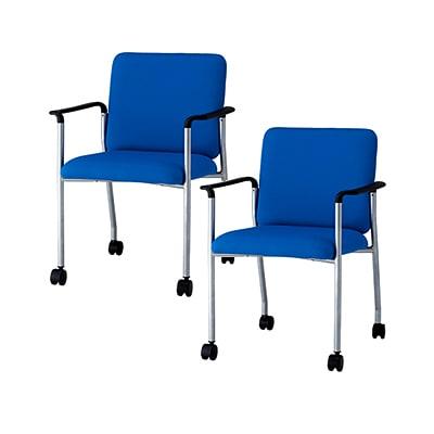 【2脚セット】ミーティングチェア おしゃれ 会議椅子  肘付き キャスター付き BAS-420A 【布ブルー・布ブラック・PVCブラック】