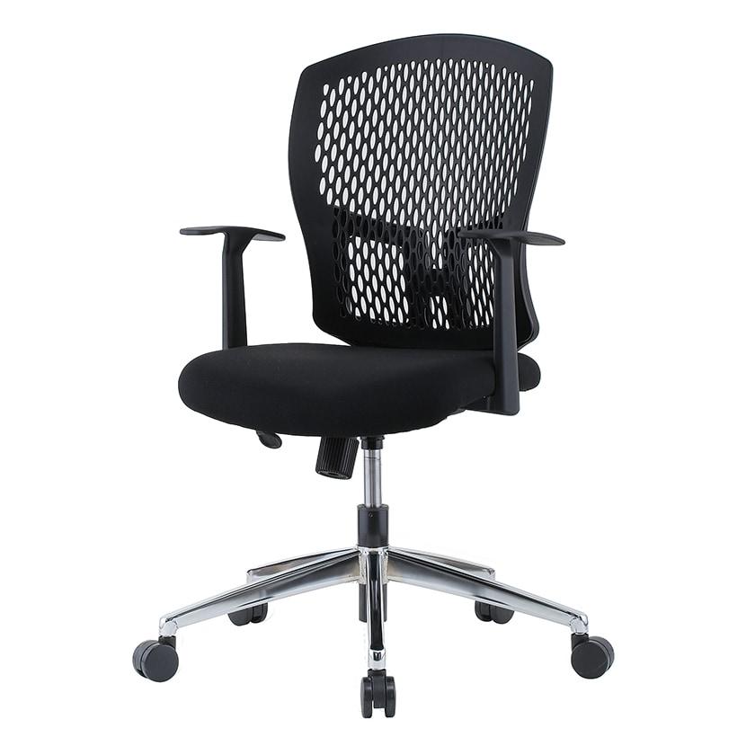 樹脂メッシュオフィスチェア T型固定肘 メッキ脚 幅485×奥行550×高さ902~982 座面高さ400~480mm