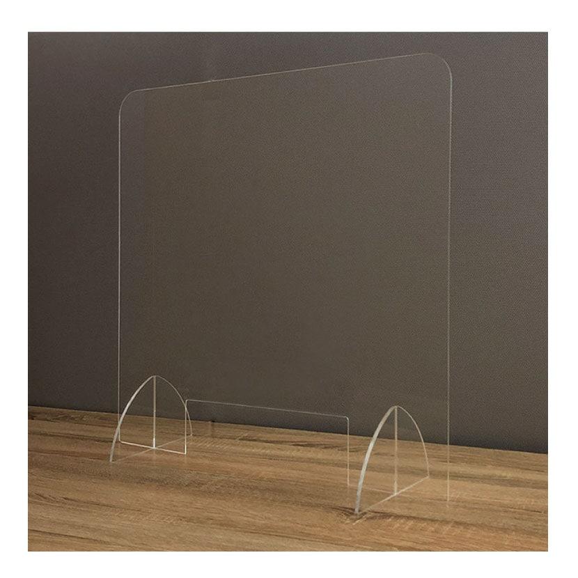 飛沫防止パネル アクリル板 3mm厚 透明 窓付き スタンド付き 卓上 パーテーション 衝立 間仕切り 感染防止 幅600×奥行(脚部)202×高さ600mm (受注生産)