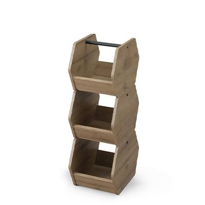 アイアンウッドボックス 3個セット 小物収納 ハンドル付き スタッキング可能 幅222×奥行320×高さ229mm(1個) IWB3-222 ブラック/アッシュブラウン