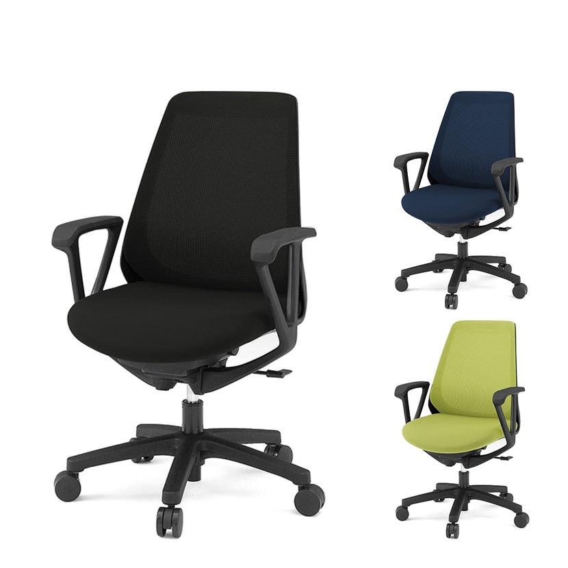 ITOKI(イトーキ) ノナチェア メッシュチェア オフィスチェア 事務椅子 ループ肘 ハンガーなし ブラック・ネイビーブルー・モスグリーン    KZ-336JB