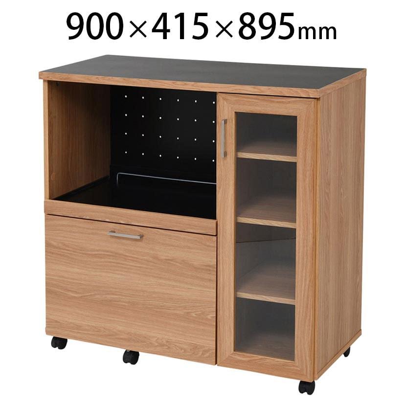 【Keittio】 北欧キッチンシリーズ キッチンカウンター 食器収納付き 幅900×奥行415×高さ895mm ノルディックデザイン ラック 収納 オフィスの給湯室・食器棚