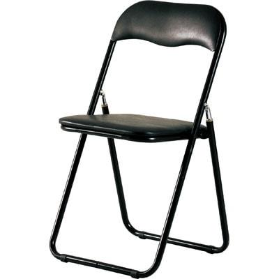 【4脚セット】折りたたみ椅子 会議椅子パイプイス/KE-PFC-9S【ブラック】