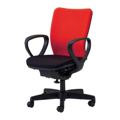 国産 オフィスチェア肘付 事務椅子 シンクロロッキングチェア マット交換可 (レッド・オレンジ・ライトグリーン:受注生産)  ウォントチェア