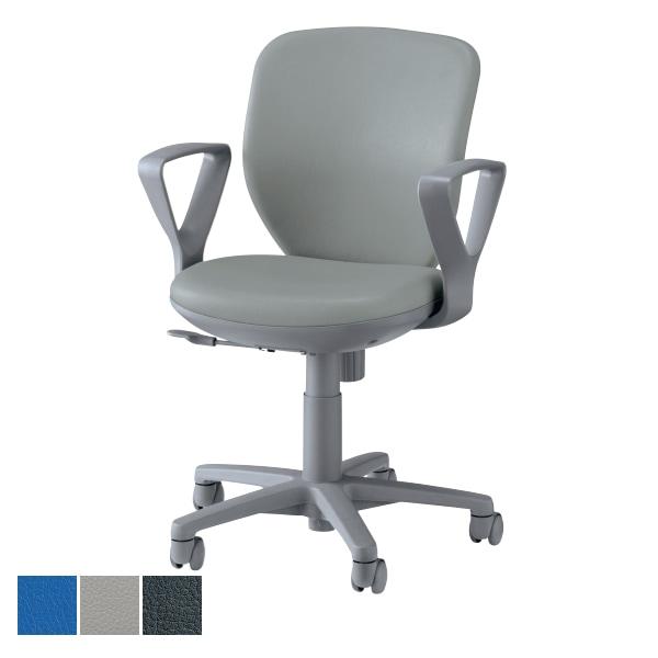 オフィスチェア デスクチェア 事務椅子 No.290 レザー張り サークル肘 モールドウレタン LI-No291S