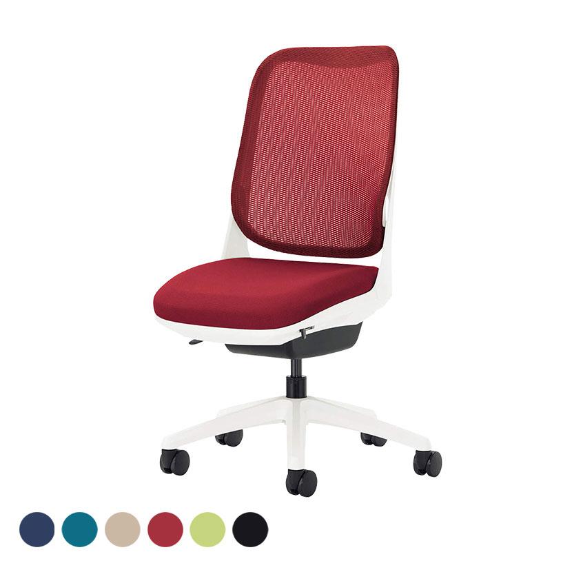 オフィチェア 事務椅子 ライド No.3560F-W アームレス ホワイトフレーム ホワイト脚