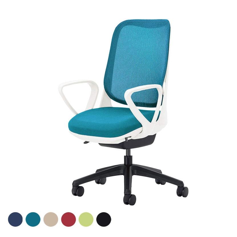 オフィチェア 事務椅子 ライド No.3561F-K サークルアーム ホワイトフレーム ブラック脚