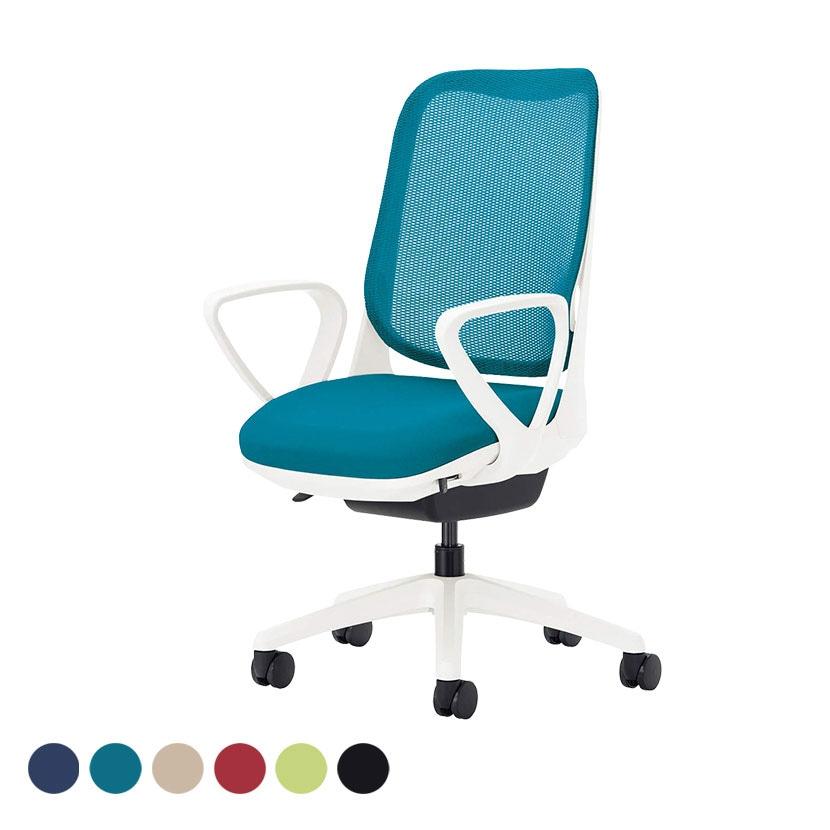 オフィチェア 事務椅子 ライド No.3561F-W サークルアーム ホワイトフレーム ホワイト脚