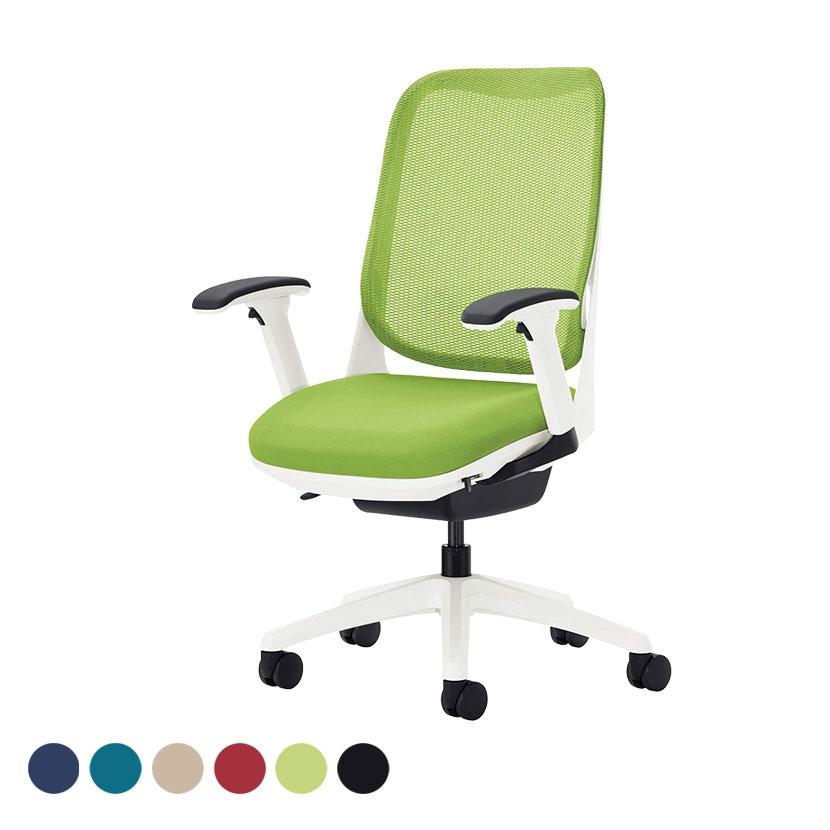 オフィチェア 事務椅子 ライド No.3562F-W フレキシブルアーム ホワイトフレーム ホワイト脚