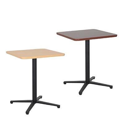 カフェテーブル アルミ脚十字脚(黒塗装) 角型 スクエアテーブル レストランテーブル 会議テーブル 幅600×奥行600×高さ726mm