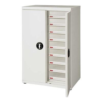 スチール製書類整理棚 レターケース A4深型2列9段扉付 幅590×奥行402×高さ890mm