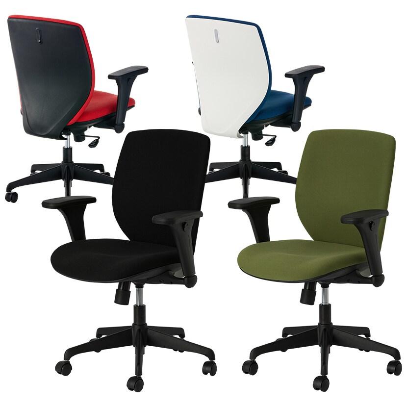 オフィスチェア シンクロロッキング 背面フック付き 肘付き ルナーレチェア 幅630×奥行615×高さ905~995mm