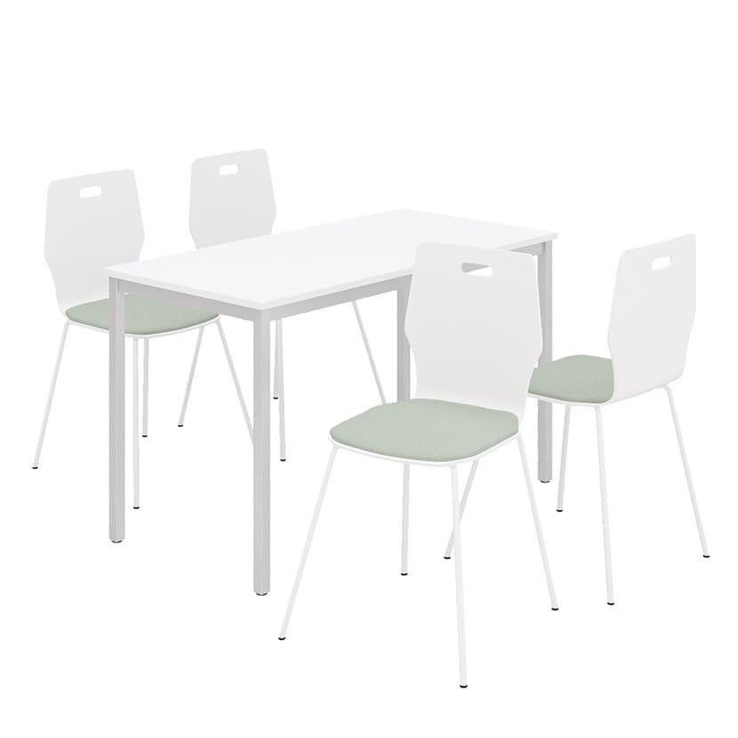 【チェア)ホワイト×ベージュ:8月中旬入荷予定】【4人用 会議セット】会議用テーブル 1200×600 + エルモサ ミーティングチェア 【4脚セット】