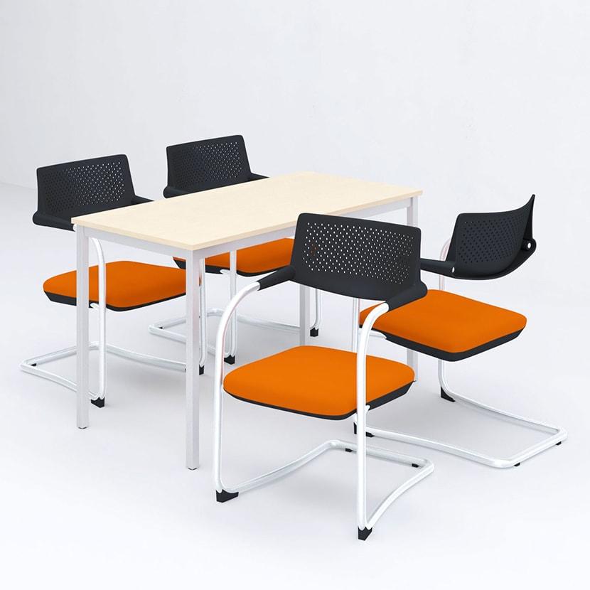 【4人用 会議セット】会議用テーブル 1200×600 + カンチレバーチェア ZARMAS2 【4脚セット】