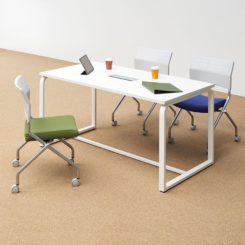 【4人用 会議セット】メティオ ミーティングテーブル 1500×750 + 平行スタッキング 会議椅子 プレソナ 【4脚セット】