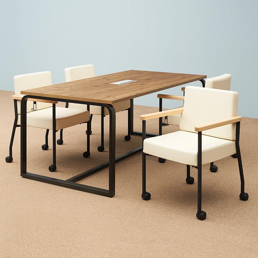 【4人用 会議セット】メティオ2.0 古木調 ミーティングテーブル 1500×750 + アームチェア ソフィディア 【4脚セット】