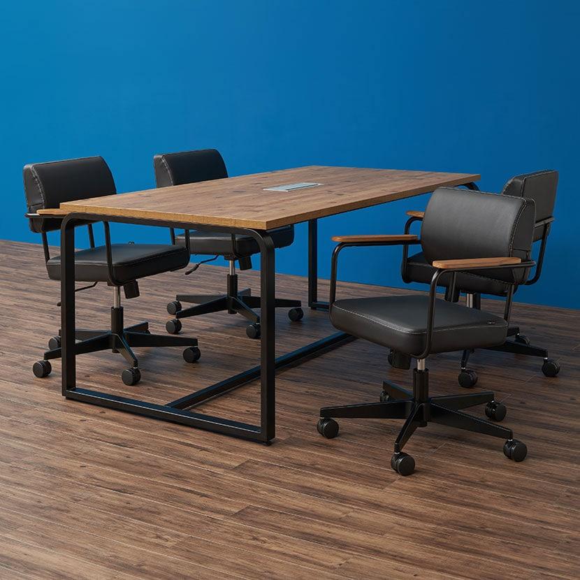 【4人用 会議セット】 メティオ2.0 古木調 ミーティングテーブル 1500×750 + メティオ2.0 ワークチェア ロッキングタイプ 【4脚セット】