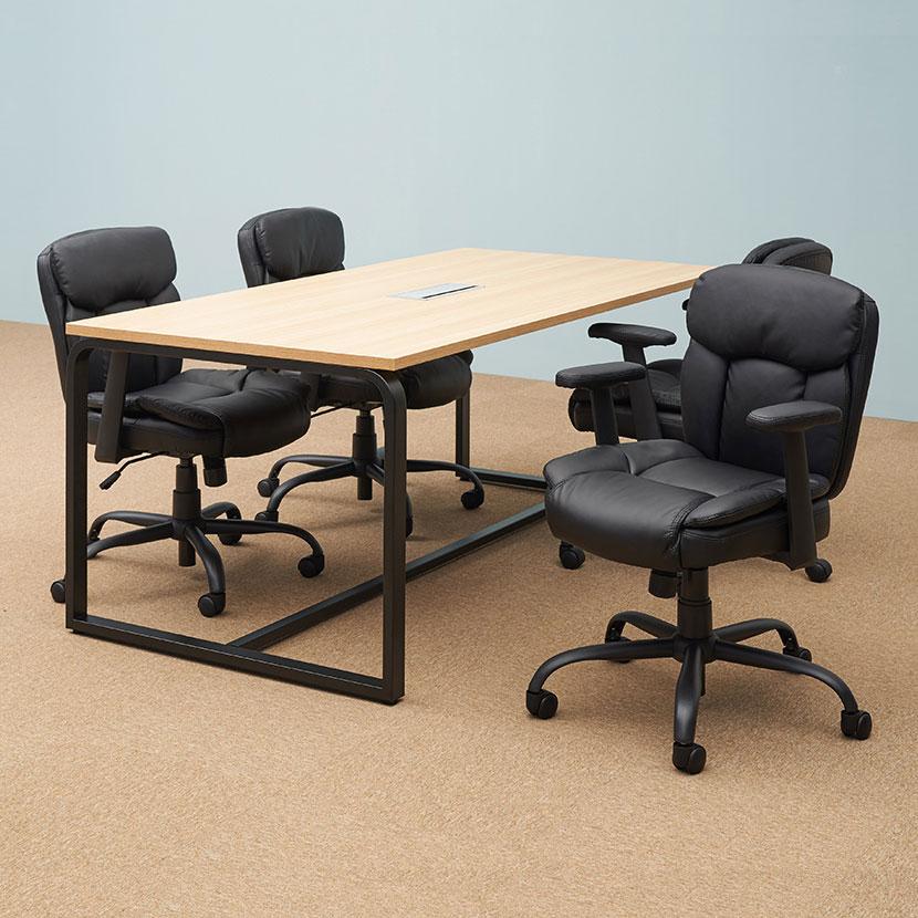【4人用 会議セット】メティオ ミーティングテーブル 1800×900 + ソファーチェア レザーチェア ピグリー【4脚セット】