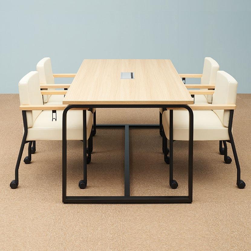 【4人用 会議セット】メティオ ミーティングテーブル 1800×900 + アームチェア ソフィディア 【4脚セット】