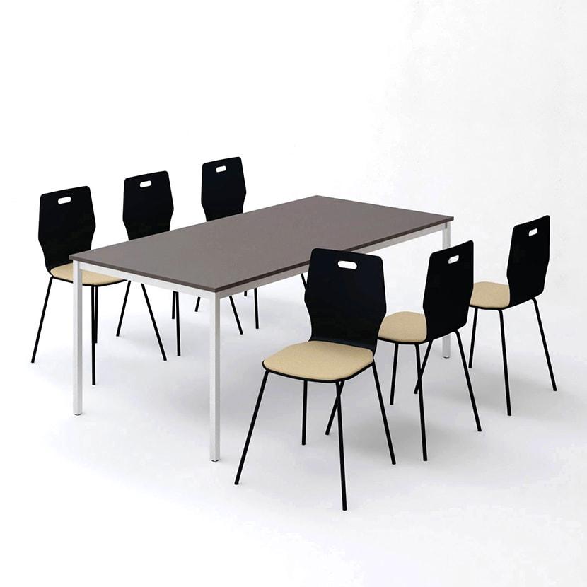 【6人用 会議セット】会議用テーブル 1800×900 + エルモサ ミーティングチェア 【6脚セット】
