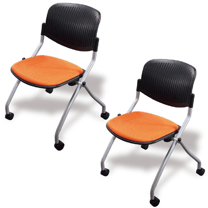 【2脚セット】ネスティングチェア ミーティングチェア 幅580×奥行570×高さ800mm【オレンジ・ブルー・ブラック】