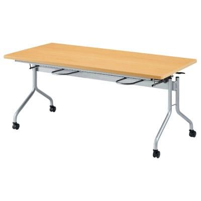 食堂テーブル 天板跳ね上げ式 折りたたみ イス掛け 4人用 幅1500×奥行750×高さ700mm