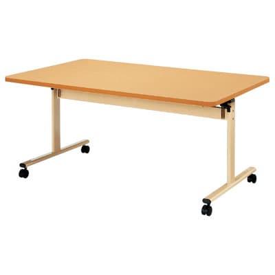介護・福祉施設向け 天板跳ね上げ式テーブル 折りたたみ ABS樹脂エッジ巻 幅900×奥行900×高さ700mm