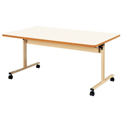 介護・福祉施設向け 天板跳ね上げ式テーブル 折りたたみ  ソフトエッジ巻 幅1800×奥行900×高さ700mm (ニシキ)