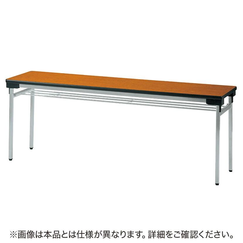 折りたたみテーブル 薄型 省スペース収納 足元ワイド 軽量アルミ脚 幅1800×奥行450mm 棚付き UW-1845A