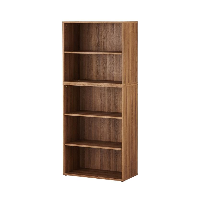 【3月上旬入荷予定】レモダ 木製キャビネット 5段 上下組 2段オープン+3段オープン 書庫 収納棚 幅800×奥行397×高さ1846mm