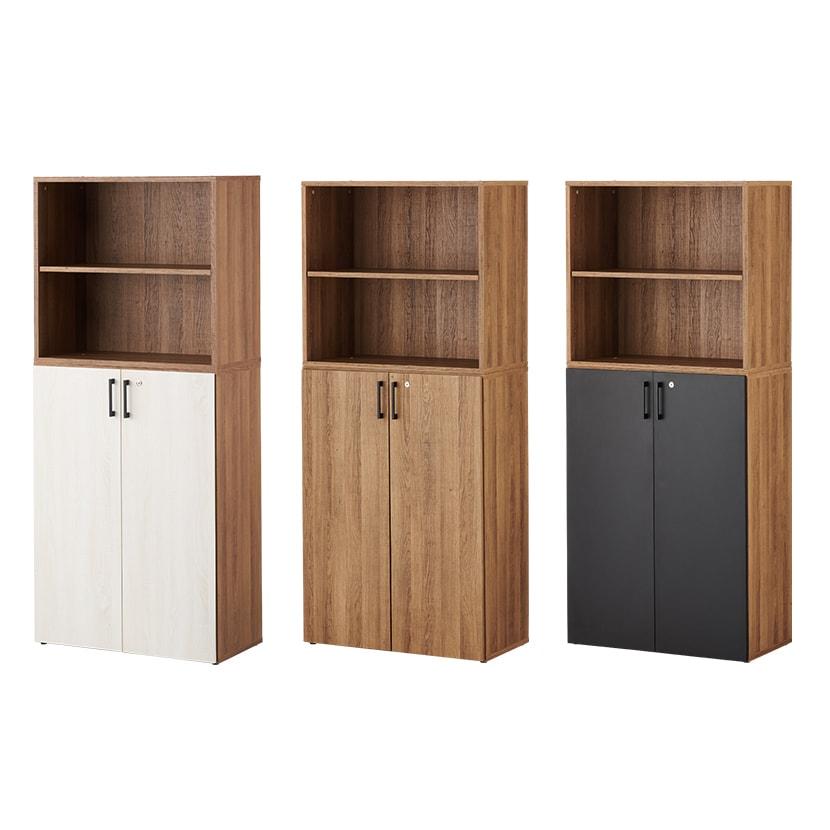 レモダ 木製キャビネット 5段 上下組 2段オープン+3段扉付き 鍵付き 書庫 収納棚 幅800×奥行443×高さ1846mm