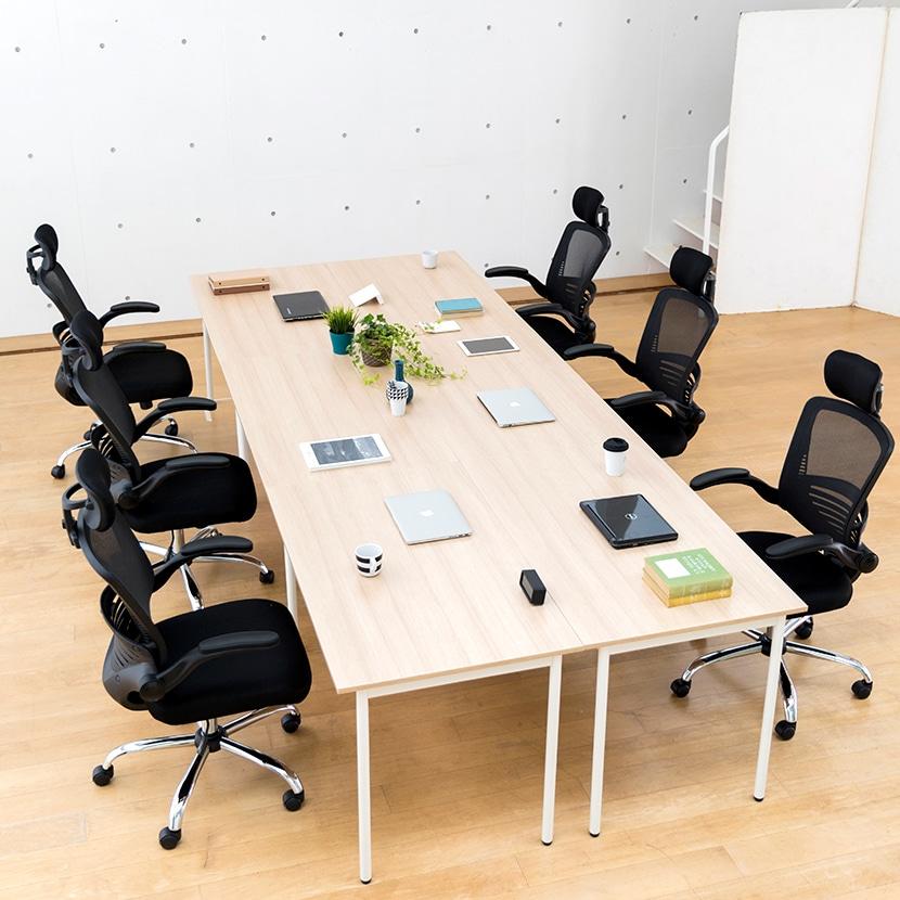 会議用テーブル 2人用フリーアドレスデスク 幅1200×奥行1400×高さ700mm (幅1200×奥行700mmの机 2台セット) ホワイト・ナチュラル・ダークブラウン
