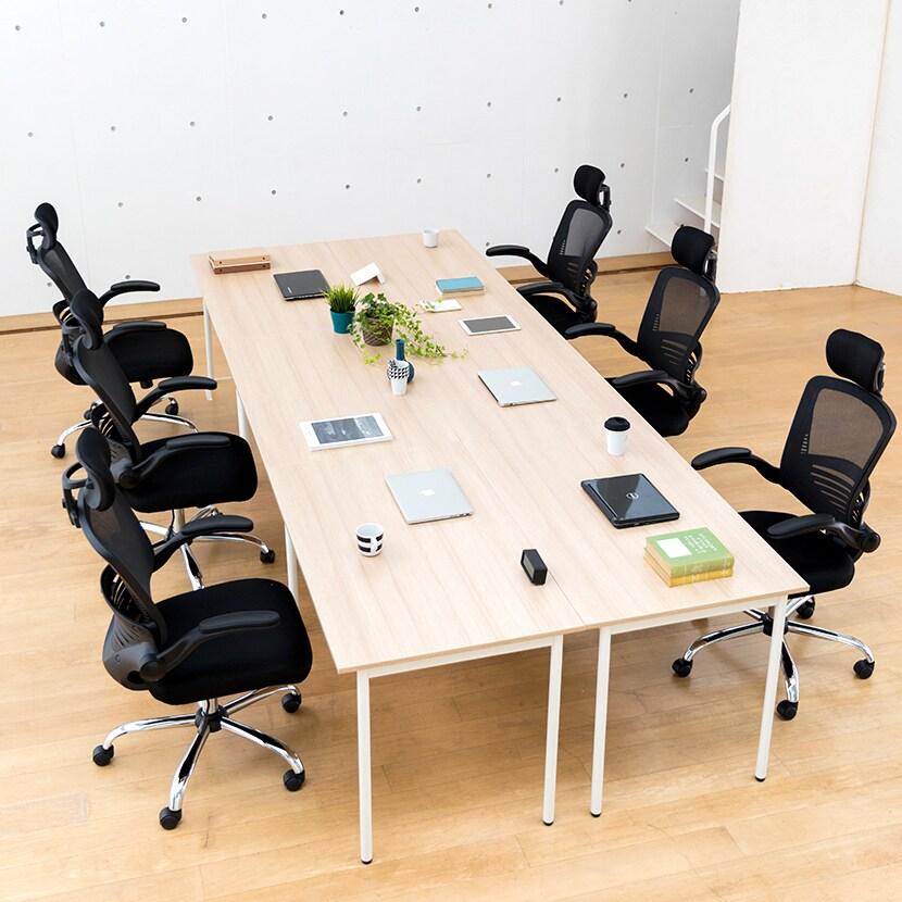 会議用テーブル 4人用フリーアドレスデスク 幅2400×奥行1400×高さ700mm (幅1200×奥行700mmの机 4台セット) ホワイト・ナチュラル・ダークブラウン