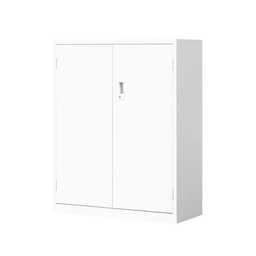 【国産】【完成品】両開き書庫 鍵付き 下置き ホワイト 幅880×奥行380×高さ1110mm