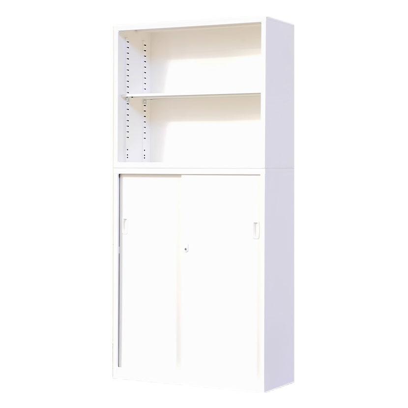 【5月13日入荷予定】スチール書庫 上下組 オープン+引戸 鍵付き オフィス収納 幅880×奥行380×高さ1860mm(連結時)