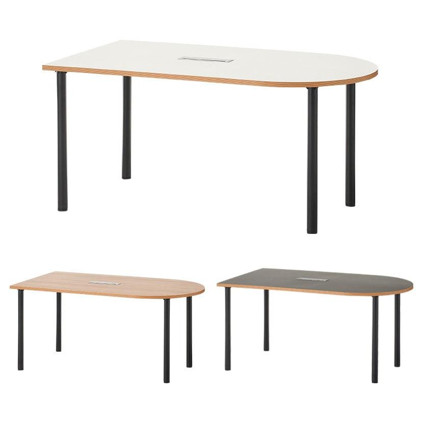 U型ミーティングテーブル2 会議用テーブル 半楕円型 配線ボックス付き 幅1600×奥行900×高さ720mm