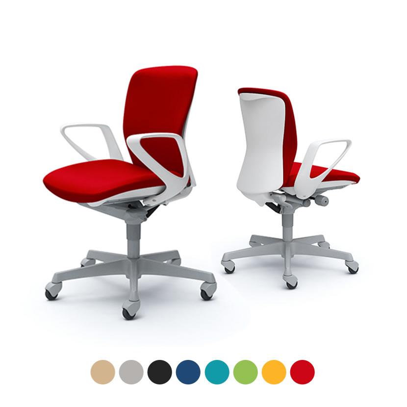オカムラ オフィスチェア スラート デザインアーム ローバック ホワイトシェル|ハンガーなし 樹脂脚 ゴムキャスター C341XR