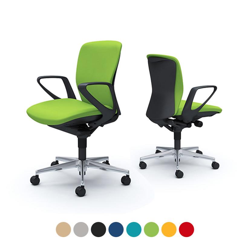 オカムラ オフィスチェア スラート デザインアーム ローバック ブラックシェル|ハンガーなし アルミ脚 ナイロンキャスター C341ZA