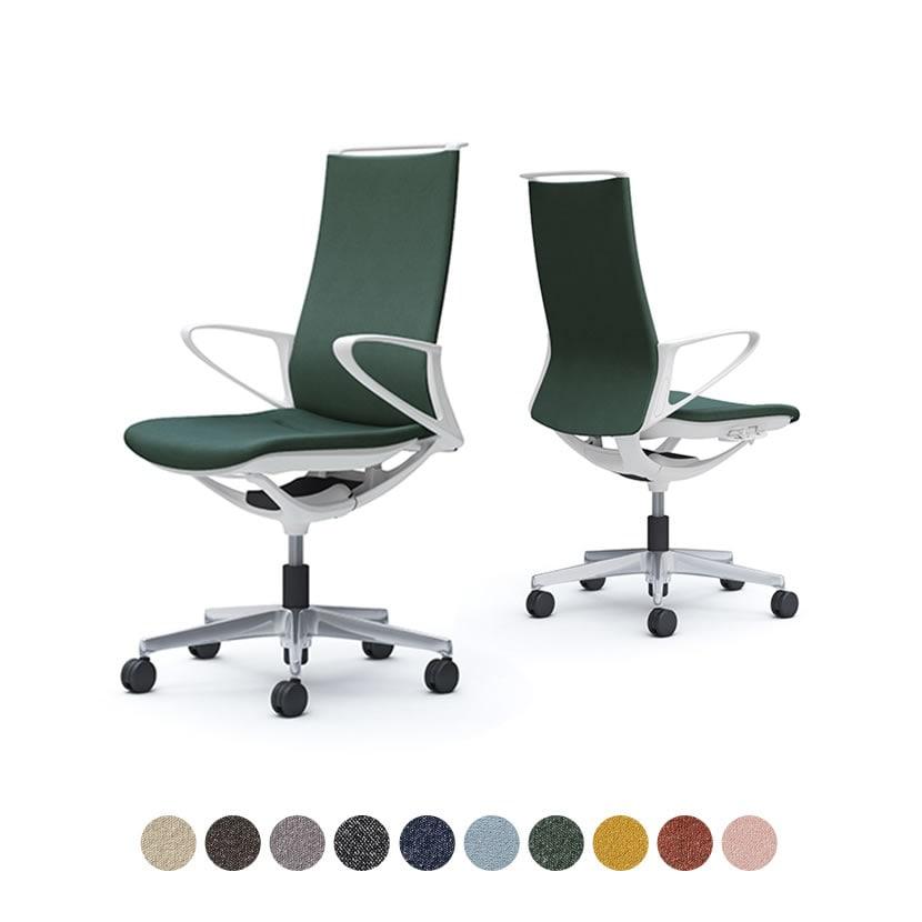 CA27BW | オフィスチェア モード ハイバック 5本脚 背クッションタイプ 布張り(インターロック) デザインアーム 樹脂ホワイトフレーム ホワイトボディ (オカムラ)