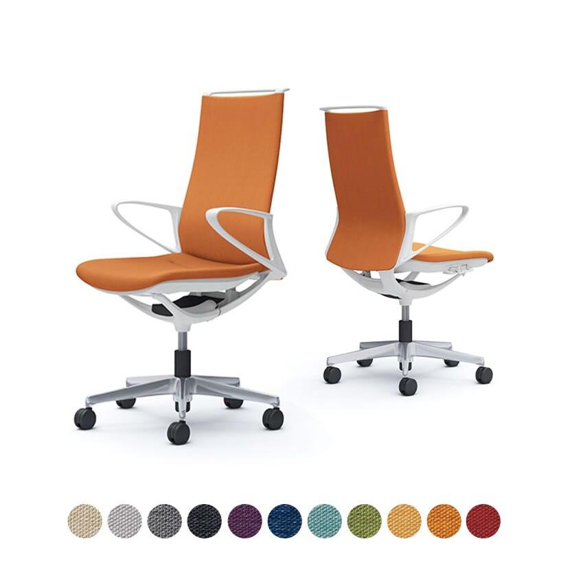 CA27BW | オフィスチェア モード ハイバック 5本脚 背クッションタイプ 布張り(ミックス) デザインアーム 樹脂ホワイトフレーム ホワイトボディ (オカムラ)
