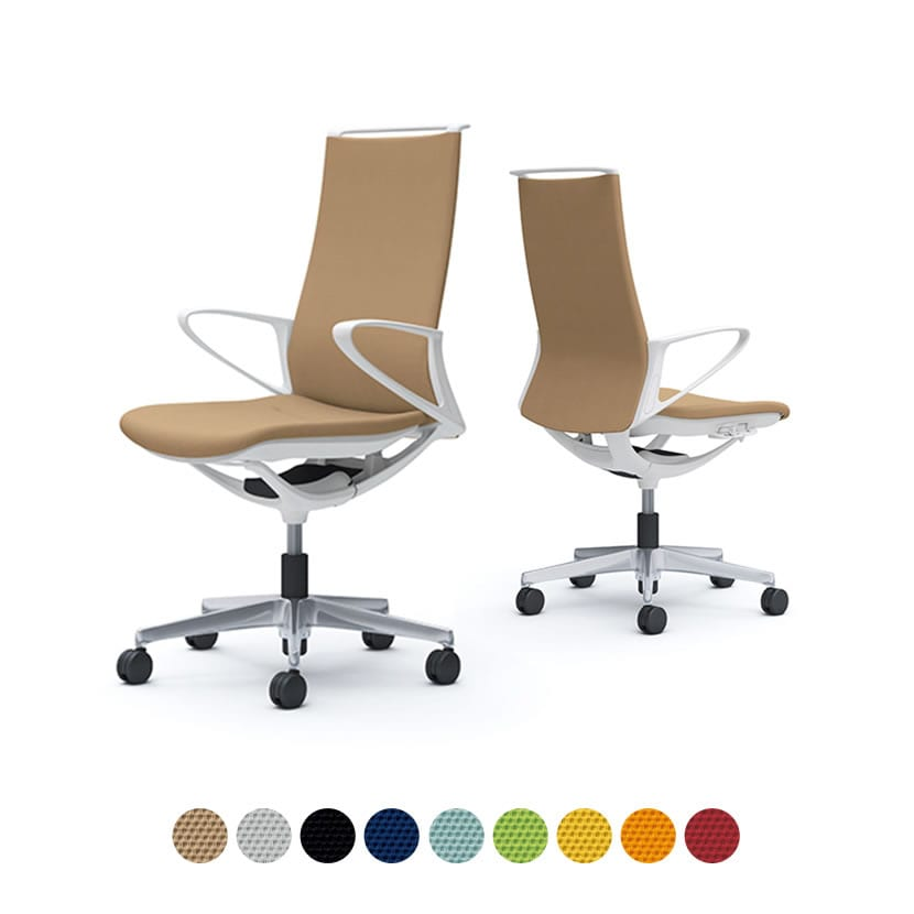 CA27BW | オフィスチェア モード ハイバック 5本脚 背クッションタイプ 布張り(プレーン) デザインアーム 樹脂ホワイトフレーム ホワイトボディ (オカムラ)