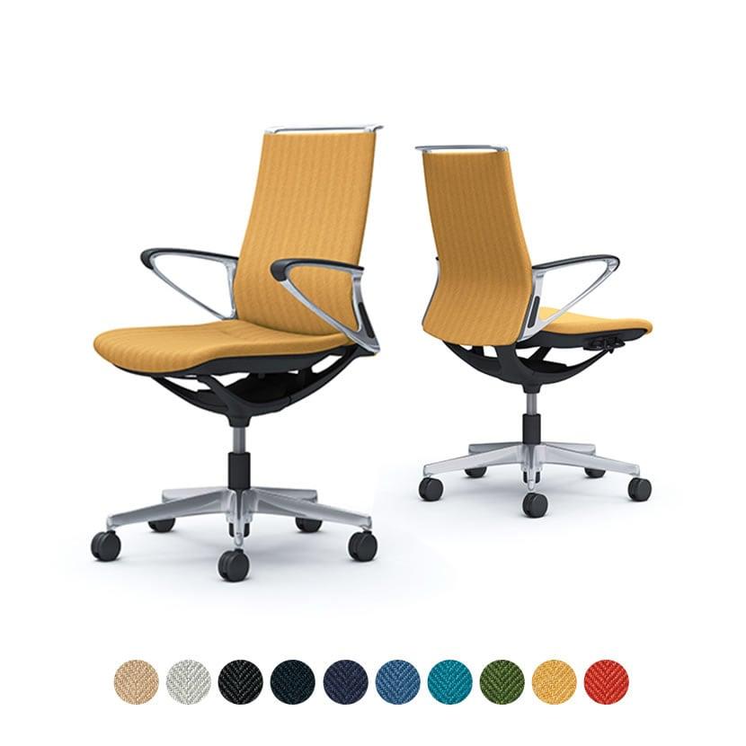 CA85BS | オフィスチェア モード ミドルバック 5本脚 背クッションタイプ 布張り(ヘリンボーン) デザインアーム アルミフレーム ブラックボディ (オカムラ)