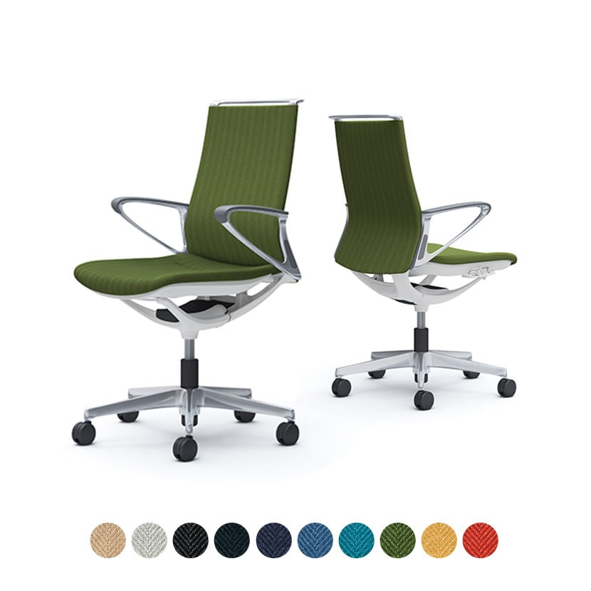 CA85BZ | オフィスチェア モード ミドルバック 5本脚 背クッションタイプ 布張り(ヘリンボーン) デザインアーム アルミフレーム ホワイトボディ (オカムラ)