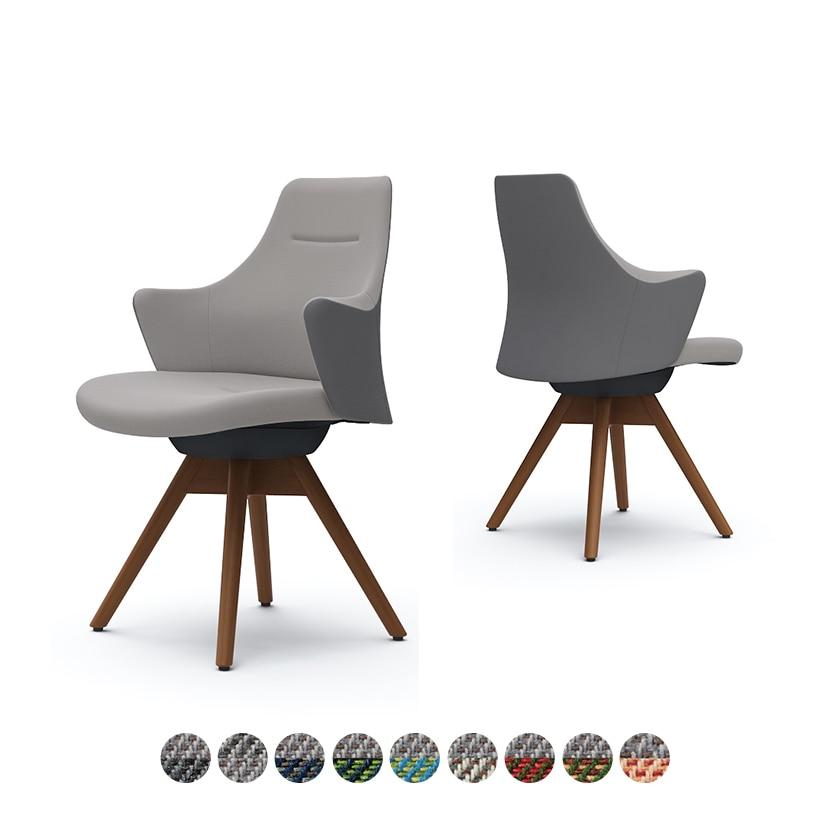 CD63ZR | ライブス ワークチェア Lives Work Chair オフィスチェア 事務椅子 ロータイプ 木脚 ブラックボディ 木脚ダーク色 布張り ツイル(ツートン) (オカムラ)