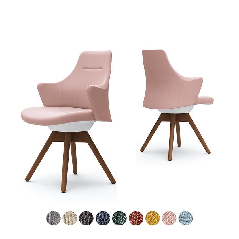 CD63ZW | ライブス ワークチェア Lives Work Chair オフィスチェア 事務椅子 ロータイプ 木脚 ホワイトボディ 木脚ダーク色 布張り インターロック (オカムラ)