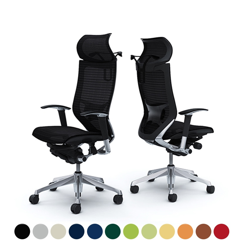 オカムラ オフィスチェア バロン エクストラハイバック 固定ヘッドレスト アジャストアーム(可動肘) 座メッシュ ポリッシュフレーム  ブラックボディ ハンガー付き ランバー付き CP88AS