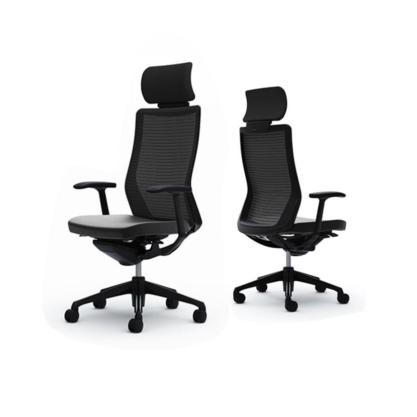 オカムラ オフィスチェア コーラル エクストラバック メッシュタイプ デザインアーム ブラックフレーム ブラックボディ ハンガー無し ランバー無し CQ4AMR 革張り ブラック FSV1